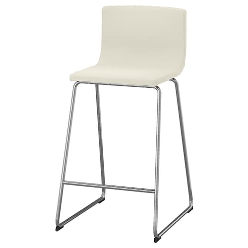 BERNHARD bar stool with backrest chrome-plated/Mjuk white 110 kg 48 cm 50 cm 90 cm 40 cm 38 cm 66 cm