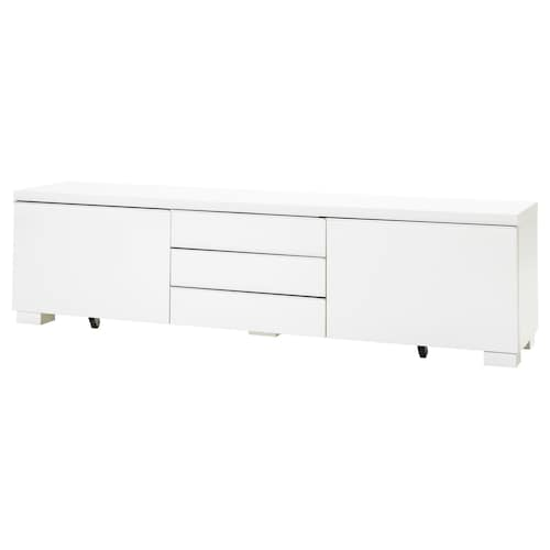 BESTÅ BURS TV bench, high-gloss white, 180x41x49 cm