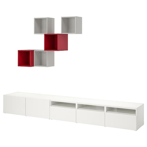 BESTÅ / EKET Cabinet combination for TV, white/light grey/red, 300x42x210 cm