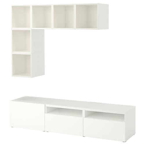 BESTÅ / EKET Cabinet combination for TV, white, 180x40x170 cm