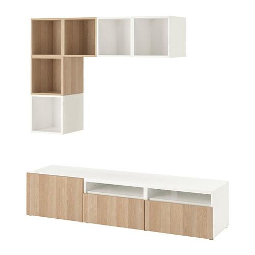 BESTÅ / EKET Cabinet combination for TV, white, white stained oak effect