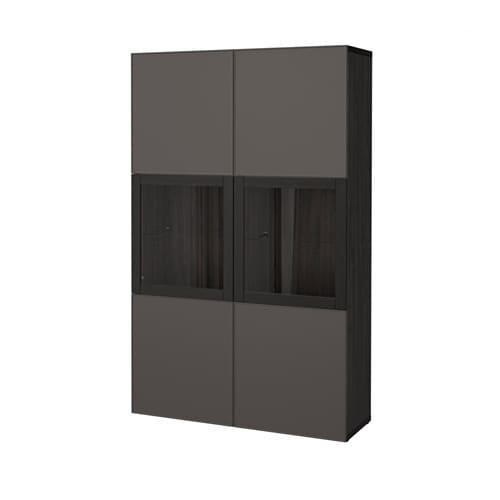Best Storage Combination W Glass Doors Black Brown Grundsviken