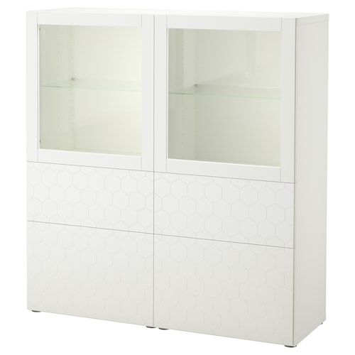BESTÅ storage combination w glass doors white/Vassviken white clear glass 120 cm 40 cm 128 cm