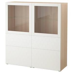 Colour: White stained oak effect/vassviken white clear glass.