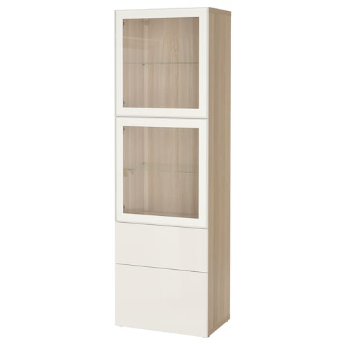 BESTÅ storage combination w glass doors white stained oak effect/Selsviken high-gloss/white clear glass 60 cm 42 cm 193 cm