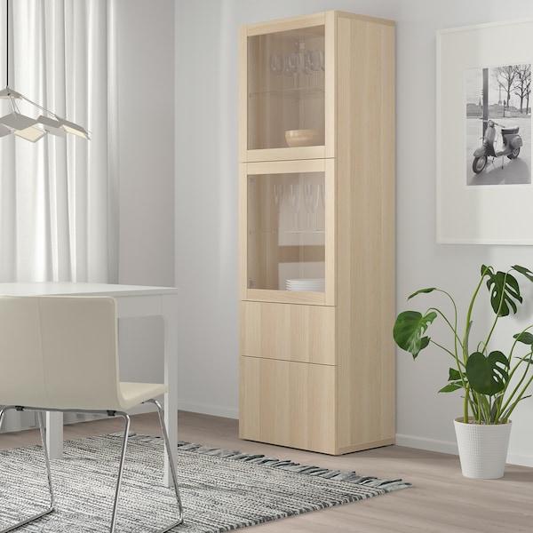 BESTÅ storage combination w glass doors white stained oak effect/Lappviken white stained oak eff clear glass 60 cm 42 cm 193 cm