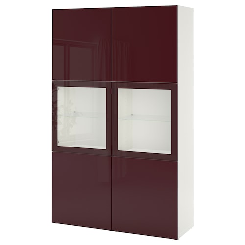 BESTÅ storage combination w glass doors white Selsviken/dark red-brown clear glass 120 cm 42 cm 192 cm