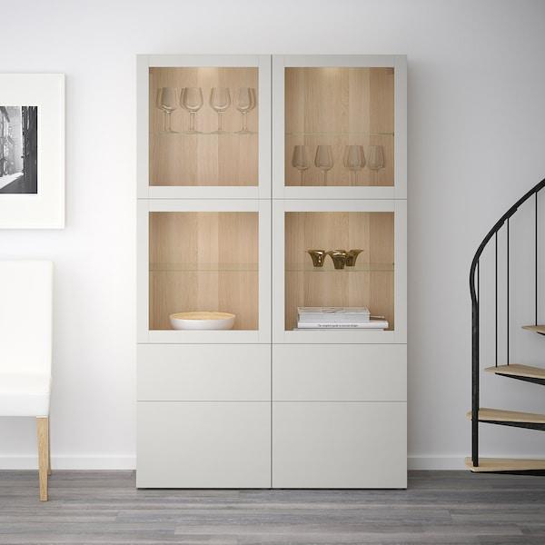 BESTÅ storage combination w glass doors white stained oak effect Sindvik/Lappviken light grey clear glass 120 cm 40 cm 192 cm