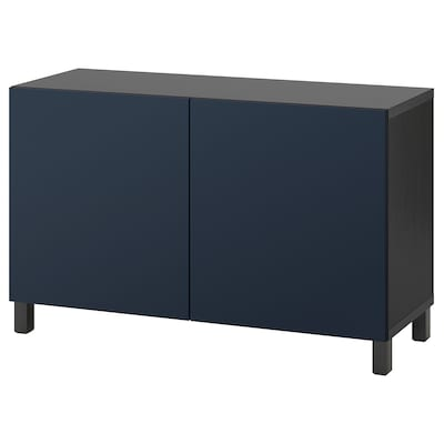 BESTÅ Storage combination with doors, black-brown/Notviken/Stubbarp blue, 120x42x74 cm