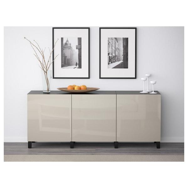 BESTÅ Storage combination with doors, black-brown/Selsviken high-gloss/beige, 180x40x74 cm