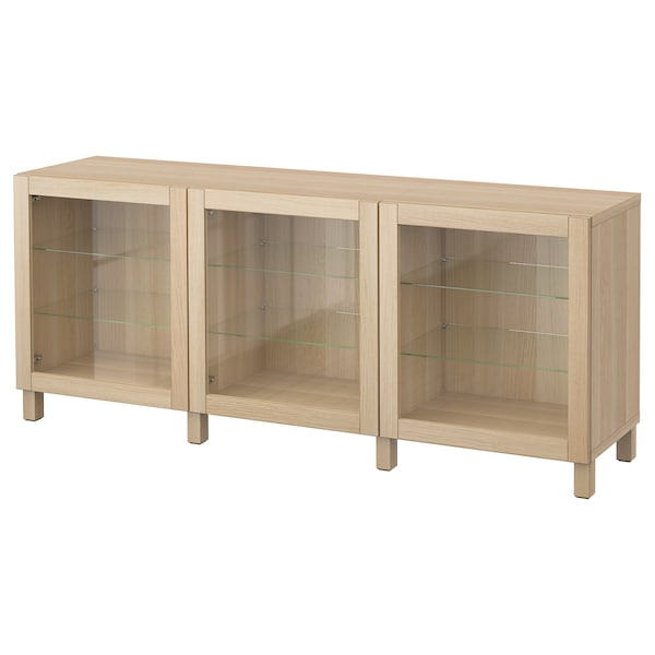 BESTÅ Storage combination with doors, Sindvik white stained oak clear glass, 180x40x74 cm