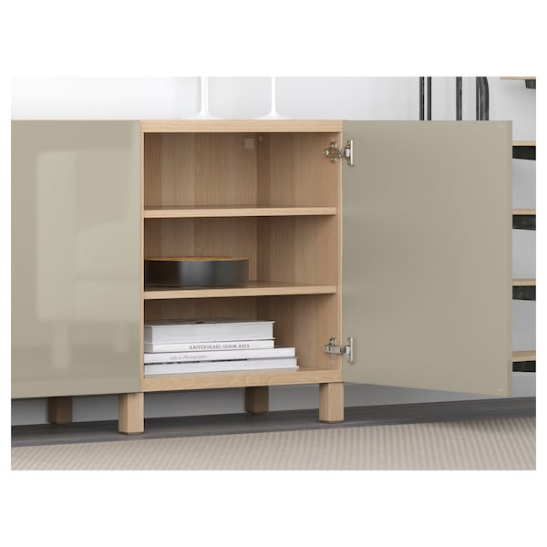 BESTÅ Storage combination with doors, white stained oak effect/Selsviken high-gloss/beige, 180x40x74 cm