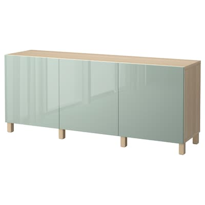 BESTÅ Storage combination with doors, white stained oak effect/Selsviken high-gloss/light grey-green, 180x40x74 cm