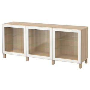 Colour: White stained oak effect/glassvik white clear glass.