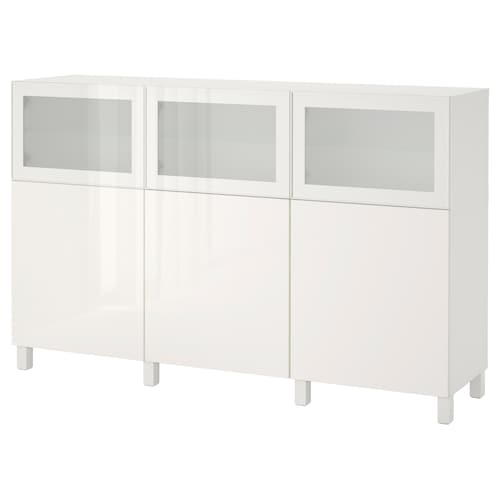 BESTÅ storage combination with doors white Selsviken/Glassvik high-gloss/white frosted glass 180 cm 42 cm 112 cm