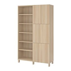 BESTÅ storage combination with doors, white stained oak effect, Lappviken/Stubbarp white stained oak effect