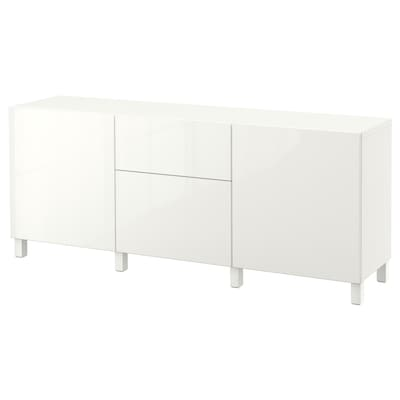 BESTÅ Storage combination with drawers, white/Selsviken high-gloss/white, 180x40x74 cm
