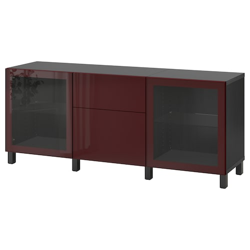 BESTÅ storage combination with drawers black-brown Selsviken/Stubbarp/dark red-brown clear glass 180 cm 42 cm 74 cm