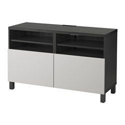 BESTÅ TV bench with doors, black-brown, Lappviken Lappviken/Stubbarp light grey