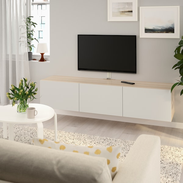 Ikea Tv Meubel.Besta Tv Bench With Doors White Stained Oak Effect Lappviken