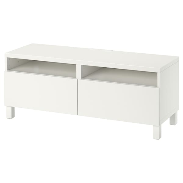 BESTÅ TV bench with drawers, white/Lappviken/Stubbarp white, 120x42x48 cm