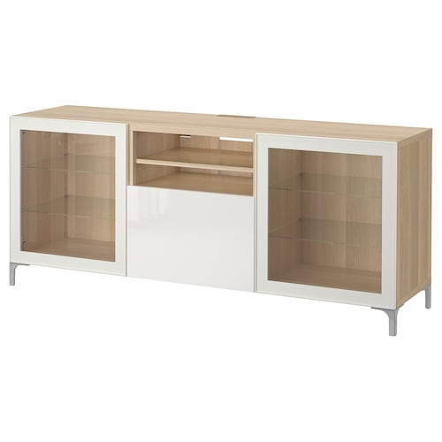 BESTÅ TV bench with drawers white stained oak effect/Selsviken high-gloss/white clear glass 180 cm 40 cm 74 cm 50 kg