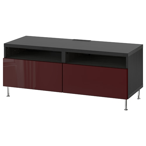 BESTÅ TV bench with drawers black-brown Selsviken/Stallarp/high-gloss dark red-brown 120 cm 42 cm 48 cm 50 kg