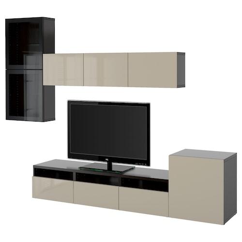 BESTÅ TV storage combination/glass doors black-brown/Selsviken high-gloss/beige clear glass 300 cm 211 cm 20 cm 40 cm