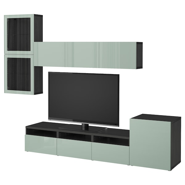 BESTÅ TV storage combination/glass doors, black-brown Selsviken/high-gloss/light grey-green clear glass, 300x20/40x211 cm