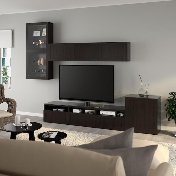 BESTÅ TV storage combination/glass doors, Hanviken black-brown clear glass, 300x20/40x211 cm