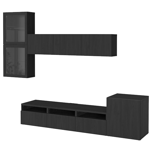 BESTÅ TV storage combination/glass doors, Lappviken/Sindvik black-brown clear glass, 300x20/40x211 cm