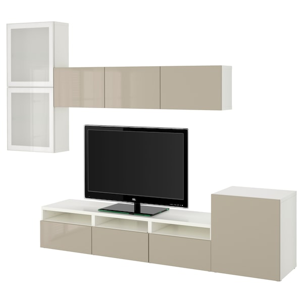 BESTÅ TV storage combination/glass doors, white/Selsviken high-gloss/beige frosted glass, 300x20/40x211 cm