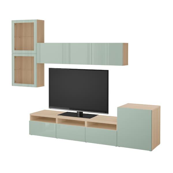 BESTÅ TV storage combination/glass doors, white stained oak effect Selsviken/high-gloss/light grey-green clear glass, 300x20/40x211 cm