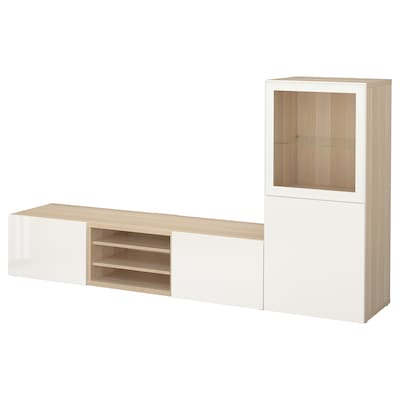 BESTÅ TV storage combination/glass doors, white stained oak effect/Selsviken high-gloss/white clear glass, 240x42x129 cm