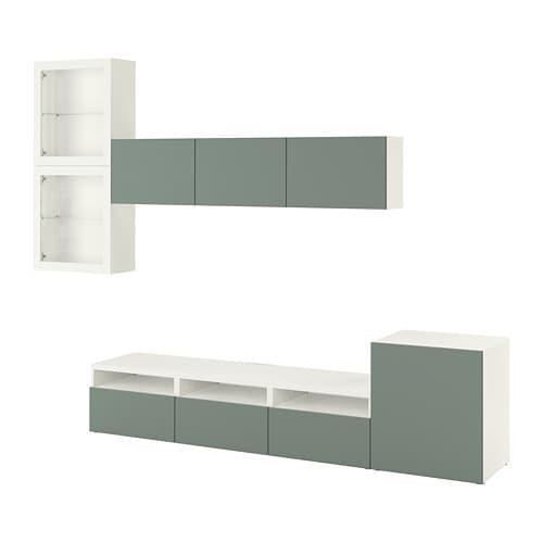 BESTÅ TV storage combination/glass doors, white, Notviken grey-green clear  glass