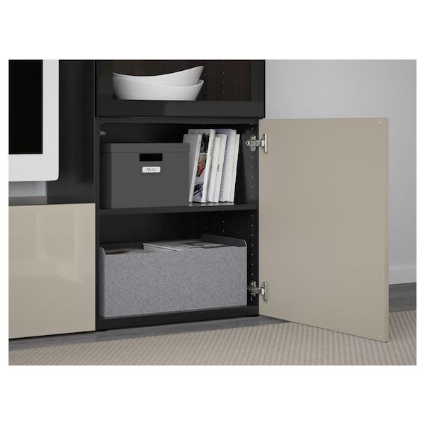 BESTÅ TV storage combination/glass doors black-brown/Selsviken high-gloss/beige clear glass 240 cm 40 cm 128 cm