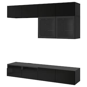 Colour: Black-brown/selsviken high-gloss/black clear glass.