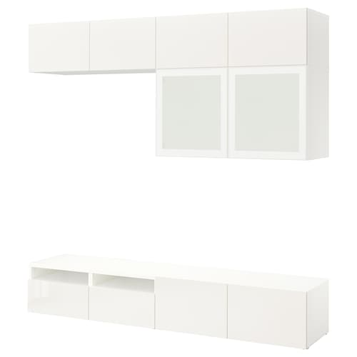 BESTÅ TV storage combination/glass doors white/Selsviken high-gloss/white frosted glass 240 cm 40 cm 230 cm