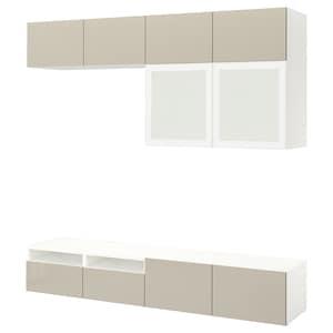 Colour: White/selsviken high-gloss/beige frosted glass.