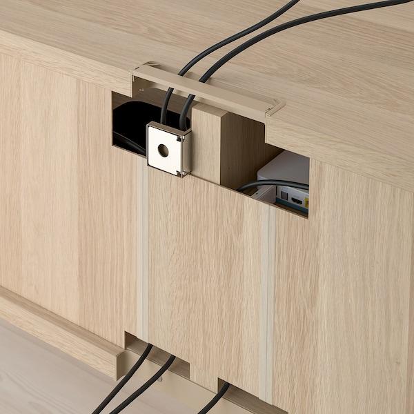 BESTÅ TV storage combination white stained oak effect Lappviken/Notviken/Stubbarp blue 240 cm 42 cm 230 cm