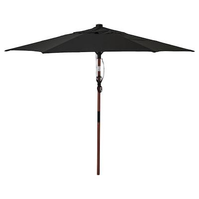 BETSÖ / LINDÖJA Parasol, brown wood effect/black, 300 cm
