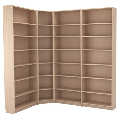 BILLY bookcase combination/crnr solution white stained oak veneer 28 cm 237 cm 215 cm 135 cm 30 kg