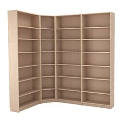 BILLY bookcase combination/crnr solution, white stained oak veneer