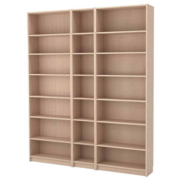 BILLY bookcase w height extension units white stained oak veneer 200 cm 28 cm 237 cm 30 kg