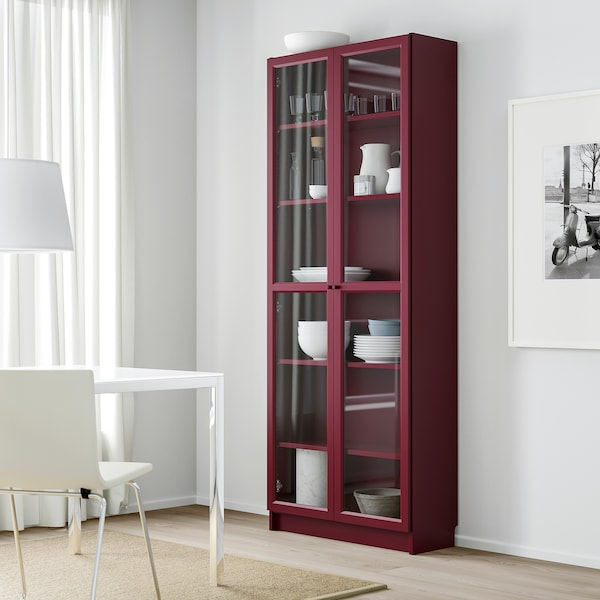 BILLY Bookcase with glass-doors, dark red, 80x30x202 cm