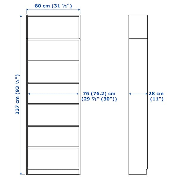 BILLY bookcase with height extension unit white stained oak veneer 80 cm 28 cm 237 cm 30 kg