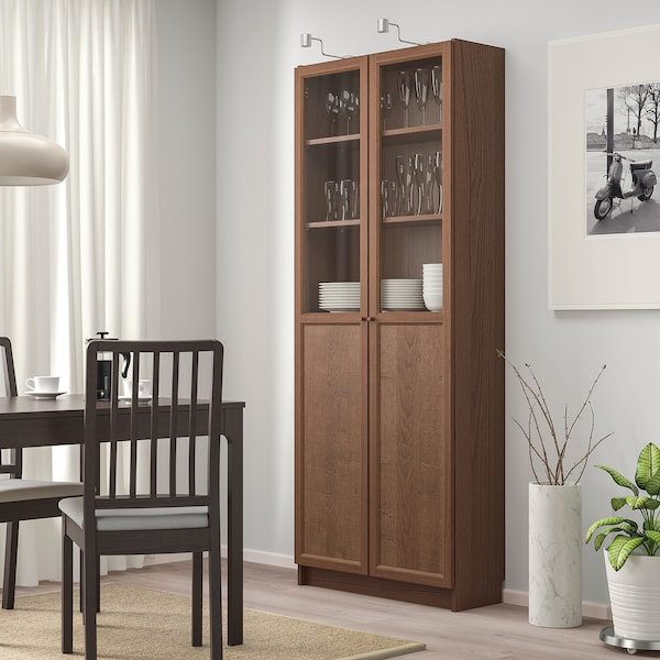 BILLY Bookcase with panel/glass doors, brown/ash veneer, 80x30x202 cm