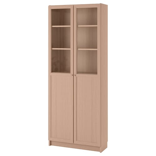 BILLY bookcase with panel/glass doors white stained oak veneer 80 cm 30 cm 202 cm 30 kg