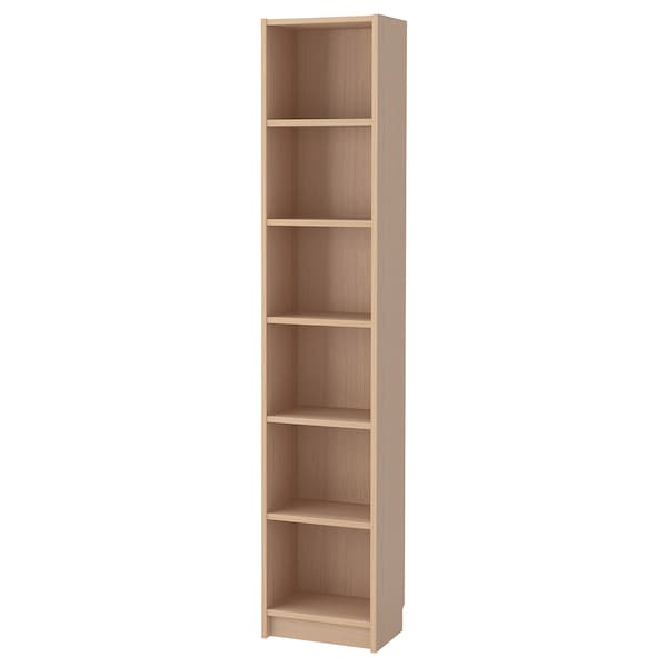 BILLY bookcase white stained oak veneer 40 cm 28 cm 202 cm 14 kg