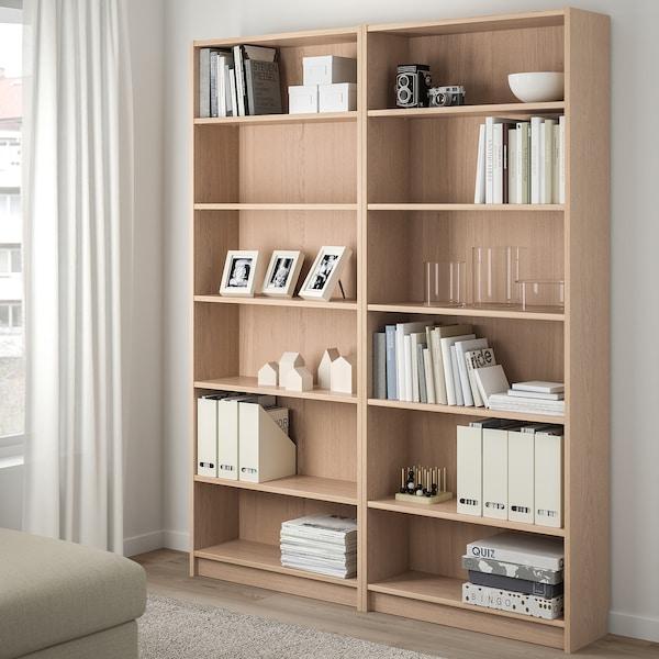 BILLY bookcase white stained oak veneer 160 cm 28 cm 202 cm 30 kg